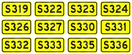 provincial: Collection of Chinese numbered provincial road markers. Stock Photo