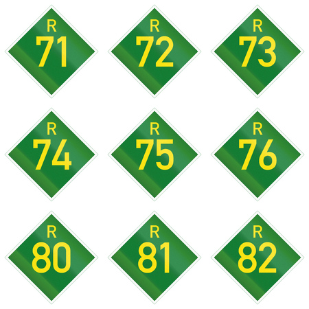 75 80: Collection of South African Provincial route signs. Stock Photo
