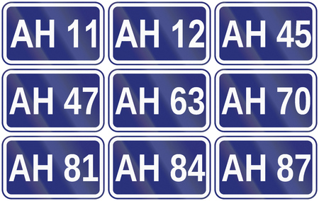 number 12: Collection of route shields for the Great Asian Highway. Stock Photo