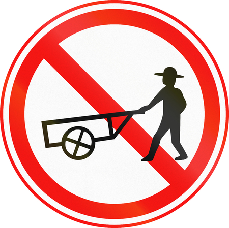thoroughfare: Obsolete Korean Traffic Sign - No Thoroughfare for Handcarts.