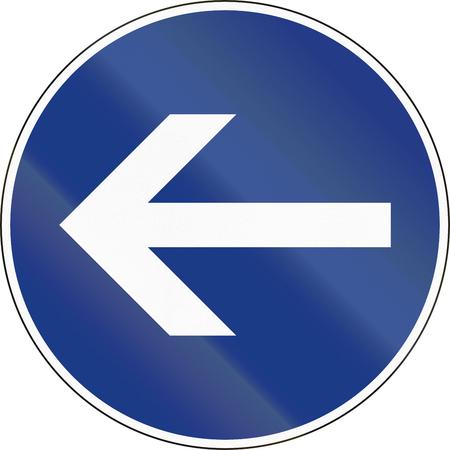 Slovenian mandatory direction sign - Turn left.