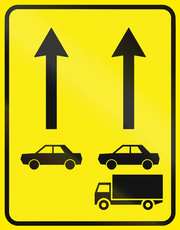 segregated: Slovenian road sign - Traffic lanes segregated by vehicle class. Stock Photo