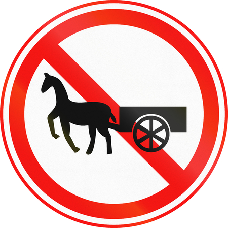 obsolete: Obsolete Korean Traffic Sign - No Thoroughfare for Oxcarts and Horse drawn carts. Stock Photo