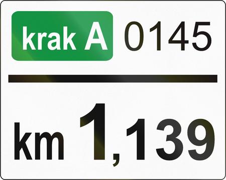 distance marker: Slovenian road sign - Road distance marker.