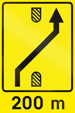single lane road: Slovenian road sign - Traffic lane management.