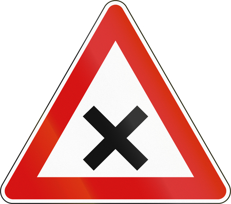 uncontrolled: Slovenian road warning sign - Uncontrolled crossroads. Stock Photo