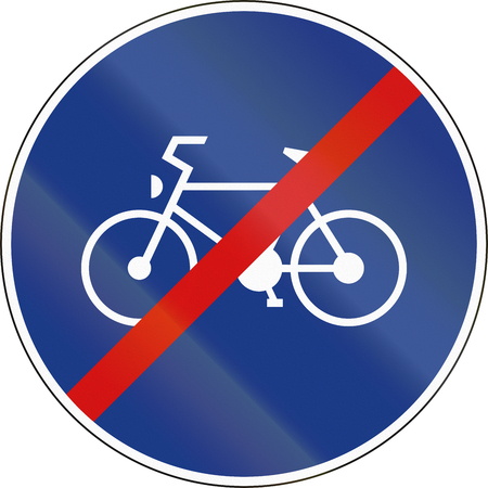 cycles: Slovenia road sign - End of Route for pedal cycles only.