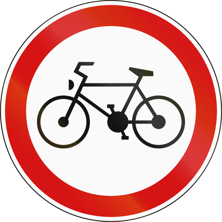 traffic regulation: A Slovenian prohibition sign - No bicycles.
