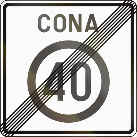 means to an end: Slovenian road sign - End speed limit zone. Cona means zone.