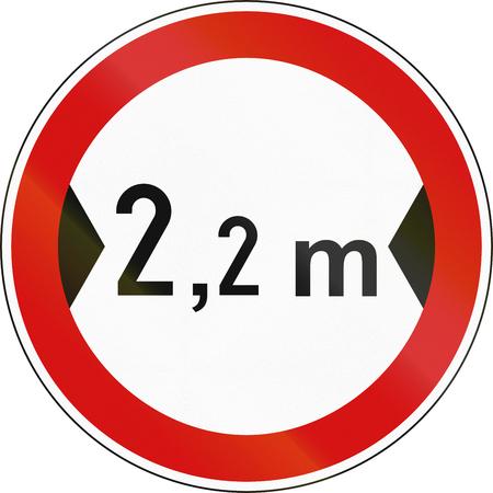 width: Slovenian regulatory road sign - No vehicles over 2.2 meters in width.