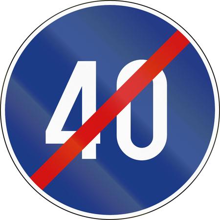 minimum: Slovenian road sign - End minimum speed limit.