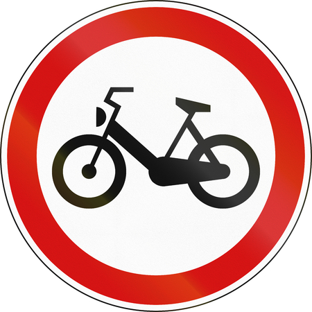 mopeds: A Slovenian prohibition sign - No Mopeds.
