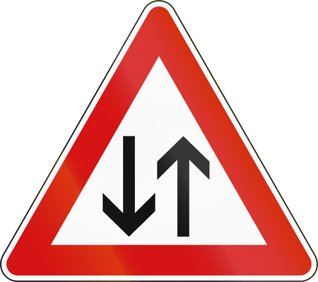 two way: Slovenia road sign - Two way traffic. Stock Photo