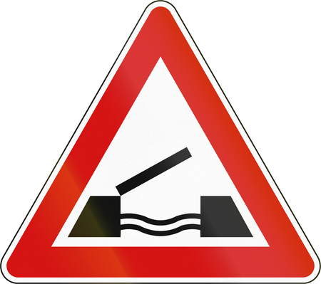 movable bridge: Slovenia road sign - Opening or swing bridge ahead.