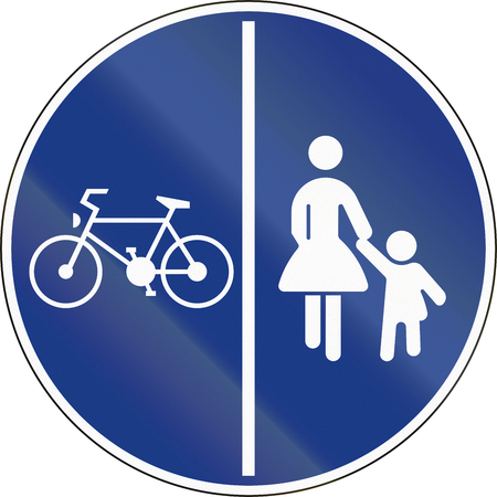 traffic signs: Shared Use Path With Separate Lanes in Slovenia.