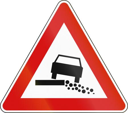 road shoulder: Slovenian road warning sign - Soft shoulder. Stock Photo