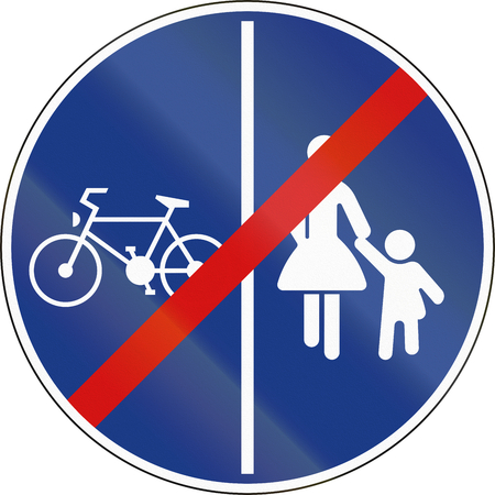 shared: End Shared Use Path With Separate Lanes in Slovenia. Stock Photo