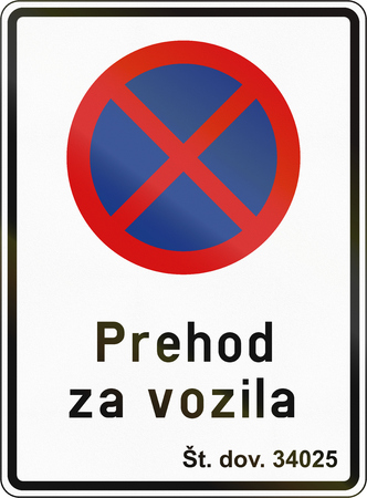slovenian: Slovenian road sign - Clearway sign with text: Passage for vehicles.