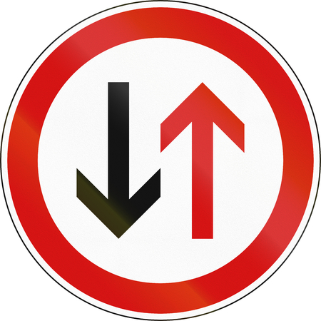 give the way: A Slovenian prohibition sign - Give way to oncoming vehicles.