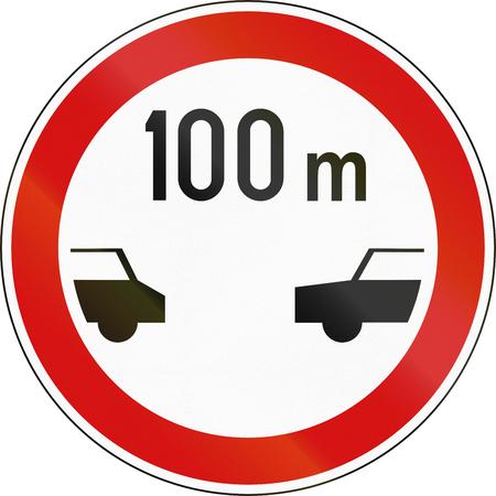 safe driving: Slovenian regulatory road sign - Minimum safe driving distance between vehicles.
