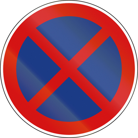stopping: A Slovenian prohibition sign - No Stopping.