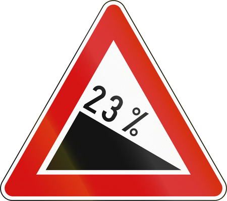 downward: Slovenia road sign - Steep hill downward.
