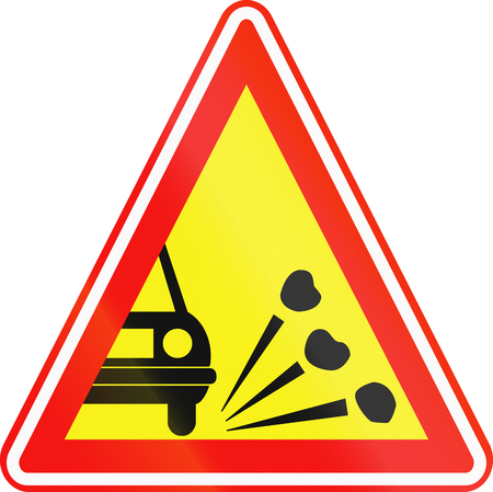 obsolete: Obsolete Korean Traffic Sign - Loose chippings on road. Stock Photo