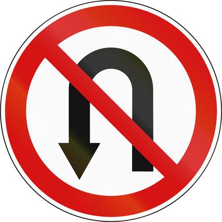 arrow sign: Slovenian regulatory road sign - No U-turn.