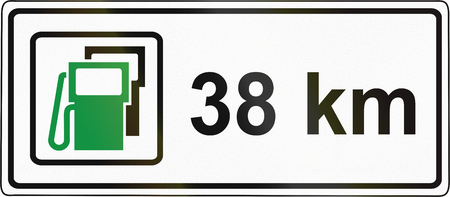 Slovenian road sign - Additional explanation plate: Gas station after 38 km.