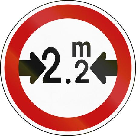 width: South Korean regulatory road sign - No vehicles over 2.2 meters in width.