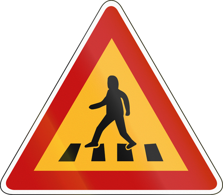 pedestrian crossing: South Korea road sign - Pedestrian crossing. Stock Photo