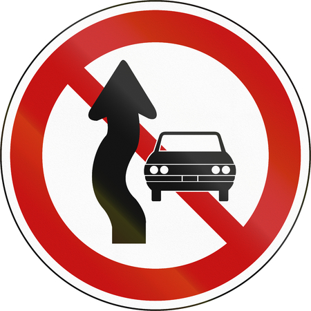 regulate: Korea Traffic Safety Sign - Regulate - No Passing . Stock Photo