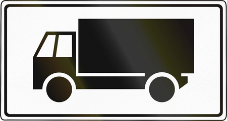 Slovenian road sign - Above sign effective for trucks. Stock Photo