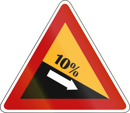 downward: South Korea road sign - Steep hill downward. Stock Photo