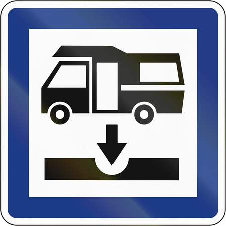 effluent: Slovenian service road sign - Toilet emptying facility. Stock Photo