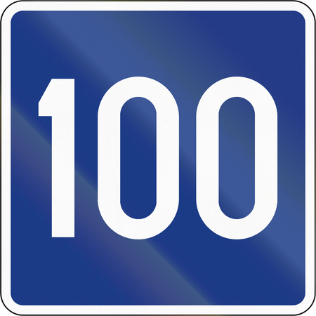 advisory: Slovenian road sign - Advisory speed 100 kmh. Stock Photo