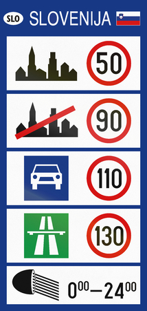 crossings: Slovenian road sign - General Speed Limits sign used at border crossings into Slovenia.