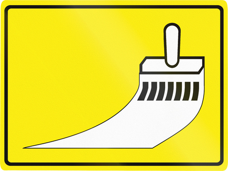 road marking: Slovenian road sign - Road marking painting. Stock Photo