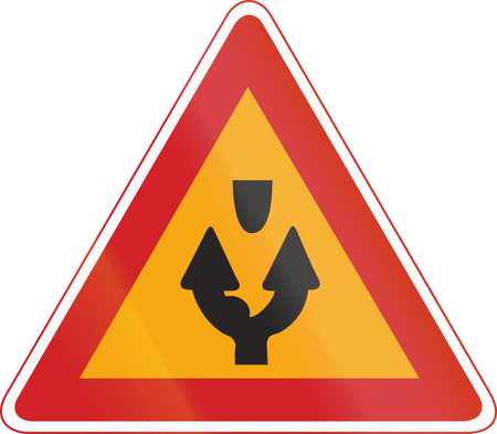 side of the road: Korea Traffic Safety Sign - Attention - Both Side Road.