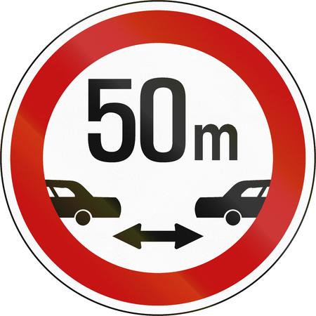 safe driving: South Korean regulatory road sign - Minimum safe driving distance between vehicles.