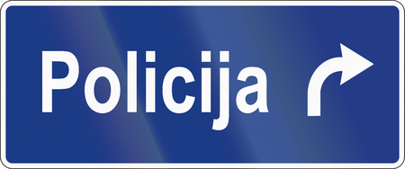 slovenian: Slovenian road sign - Police station direction. Stock Photo