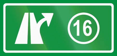 exit sign: Slovenian road sign - Motorway exit sign.