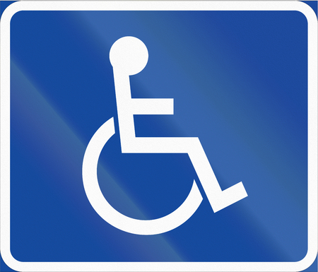 physically: Road sign used in Sweden - Symbol plate for specified vehicle or road user category (handicapped).