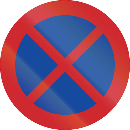 stopping: Road sign used in Sweden - No stopping or parking. Stock Photo