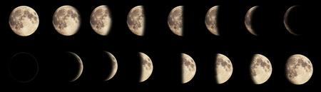 月の満ち欠けの合成画像。