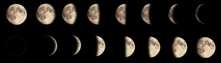 waning moon: Composite image of the phases of the moon.