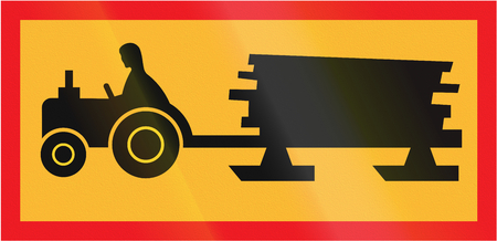 Road sign used in Sweden - Forestry vehicle crossing ahead.