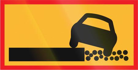 road shoulder: Road sign used in Sweden - Soft shoulder.