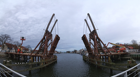 greifswald: Panoramic shot of the historical bascule bridge in Wieck (Greifswald), Mecklenburg-Vorpommern, Germany, being rebuilt.