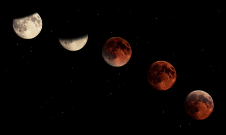 lunar eclipse: Composite image of the stages of a total lunar eclipse. Stock Photo